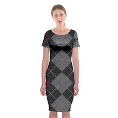 Wool Texture With Great Pattern Classic Short Sleeve Midi Dress