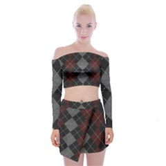 Wool Texture With Great Pattern Off Shoulder Top With Skirt Set