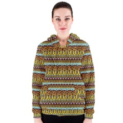 Bohemian Fabric Pattern Women s Zipper Hoodie by BangZart