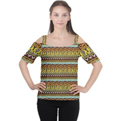 Bohemian Fabric Pattern Women s Cutout Shoulder Tee