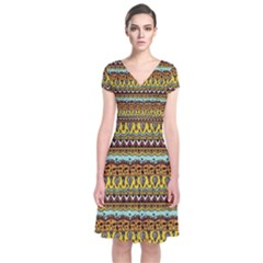 Bohemian Fabric Pattern Short Sleeve Front Wrap Dress by BangZart