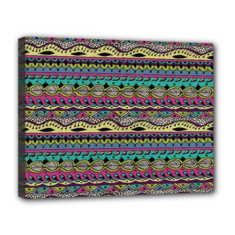 Aztec Pattern Cool Colors Canvas 14  X 11  by BangZart