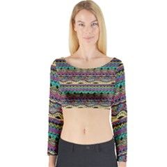 Aztec Pattern Cool Colors Long Sleeve Crop Top
