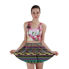 Aztec Pattern Cool Colors Mini Skirt