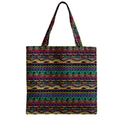 Aztec Pattern Cool Colors Zipper Grocery Tote Bag by BangZart