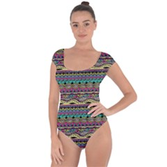 Aztec Pattern Cool Colors Short Sleeve Leotard