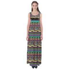 Aztec Pattern Cool Colors Empire Waist Maxi Dress