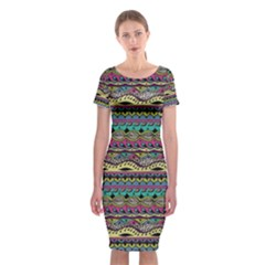 Aztec Pattern Cool Colors Classic Short Sleeve Midi Dress