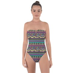 Aztec Pattern Cool Colors Tie Back One Piece Swimsuit