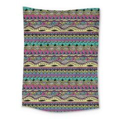 Aztec Pattern Cool Colors Medium Tapestry by BangZart