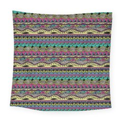 Aztec Pattern Cool Colors Square Tapestry (large) by BangZart