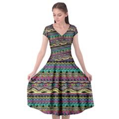 Aztec Pattern Cool Colors Cap Sleeve Wrap Front Dress