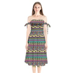 Aztec Pattern Cool Colors Shoulder Tie Bardot Midi Dress