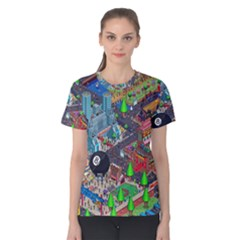 Pixel Art City Women s Cotton Tee