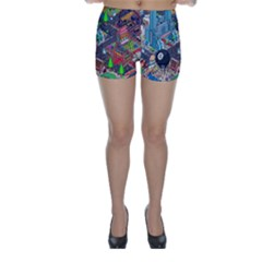 Pixel Art City Skinny Shorts