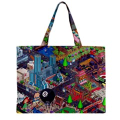 Pixel Art City Zipper Mini Tote Bag by BangZart