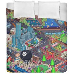 Pixel Art City Duvet Cover Double Side (california King Size) by BangZart