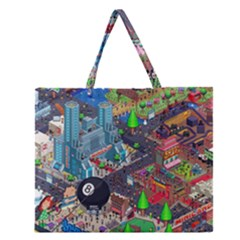 Pixel Art City Zipper Large Tote Bag