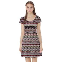 Aztec Pattern Patterns Short Sleeve Skater Dress by BangZart