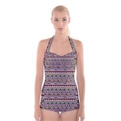 Aztec Pattern Patterns Boyleg Halter Swimsuit