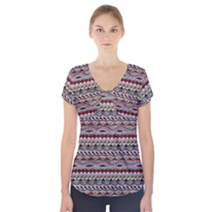 Aztec Pattern Patterns Short Sleeve Front Detail Top by BangZart