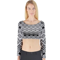 Aztec Design  Pattern Long Sleeve Crop Top by BangZart