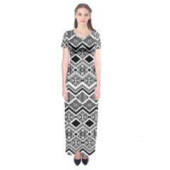 Aztec Design  Pattern Short Sleeve Maxi Dress