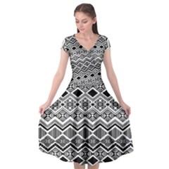 Aztec Design  Pattern Cap Sleeve Wrap Front Dress