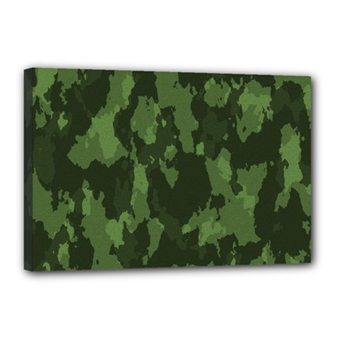 Camouflage Green Army Texture Canvas 18  x 12  by BangZart