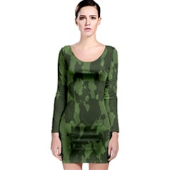 Camouflage Green Army Texture Long Sleeve Bodycon Dress