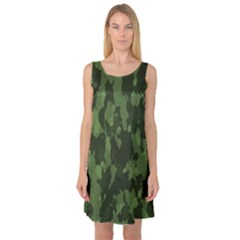 Camouflage Green Army Texture Sleeveless Satin Nightdress