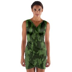 Camouflage Green Army Texture Wrap Front Bodycon Dress