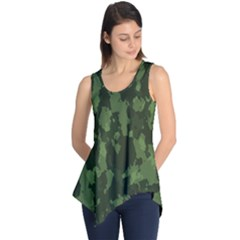 Camouflage Green Army Texture Sleeveless Tunic