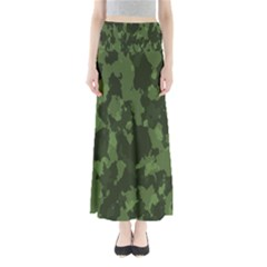 Camouflage Green Army Texture Full Length Maxi Skirt