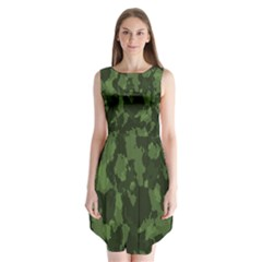 Camouflage Green Army Texture Sleeveless Chiffon Dress