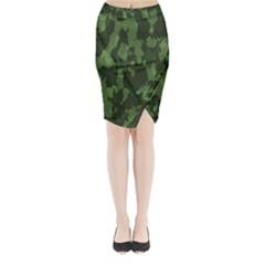 Camouflage Green Army Texture Midi Wrap Pencil Skirt by BangZart