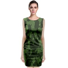 Camouflage Green Army Texture Sleeveless Velvet Midi Dress by BangZart