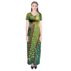 Chameleon Skin Texture Short Sleeve Maxi Dress