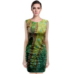Chameleon Skin Texture Sleeveless Velvet Midi Dress by BangZart