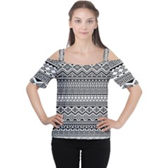 Aztec Pattern Design Women s Cutout Shoulder Tee