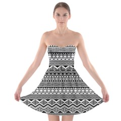 Aztec Pattern Design Strapless Bra Top Dress