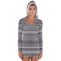 Aztec Pattern Design Women s Long Sleeve Hooded T Shirt
