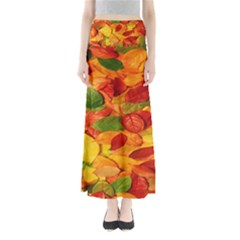 Leaves Texture Full Length Maxi Skirt