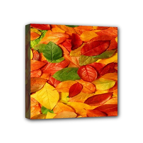 Leaves Texture Mini Canvas 4  X 4  by BangZart