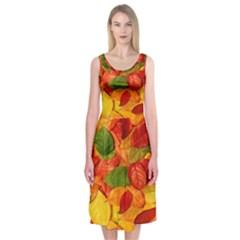 Leaves Texture Midi Sleeveless Dress