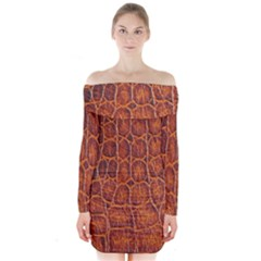 Crocodile Skin Texture Long Sleeve Off Shoulder Dress by BangZart