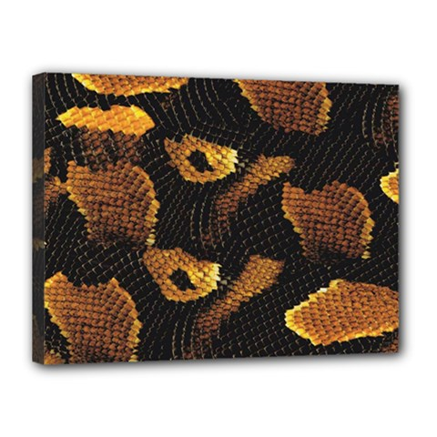 Gold Snake Skin Canvas 16  X 12  by BangZart