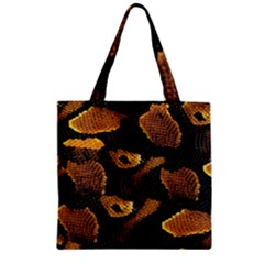 Gold Snake Skin Zipper Grocery Tote Bag
