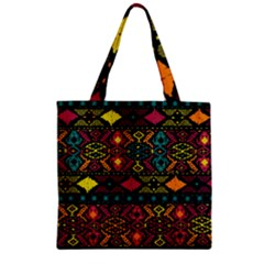 Bohemian Patterns Tribal Zipper Grocery Tote Bag