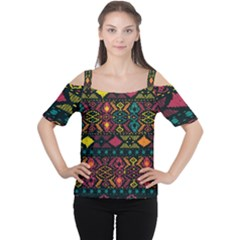 Bohemian Patterns Tribal Women s Cutout Shoulder Tee